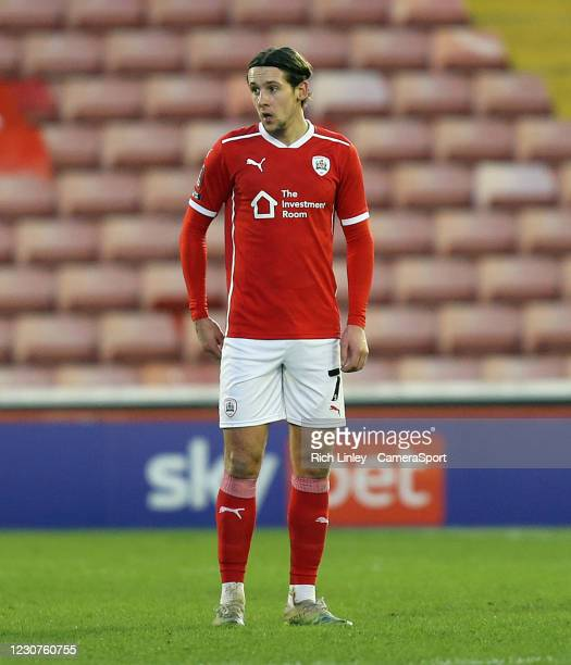 Barnsley's Callum Brittain during the The Emirates FA Cup Fourth Round match between Barnsley and Norwich City at Oakwell Stadium on January 23, 2021...