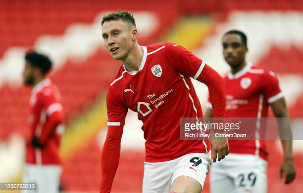 Barnsley's Cauley Woodrow during the The Emirates FA Cup Fourth Round match between Barnsley and Norwich City at Oakwell Stadium on January 23, 2021...