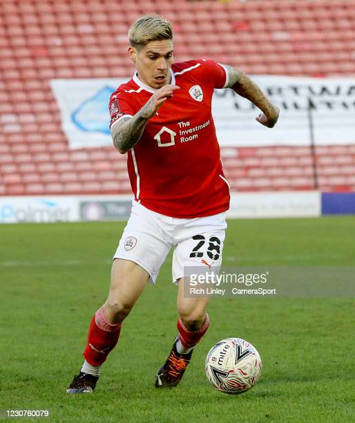 Barnsley's Dominik Frieser during the The Emirates FA Cup Fourth Round match between Barnsley and Norwich City at Oakwell Stadium on January 23, 2021...