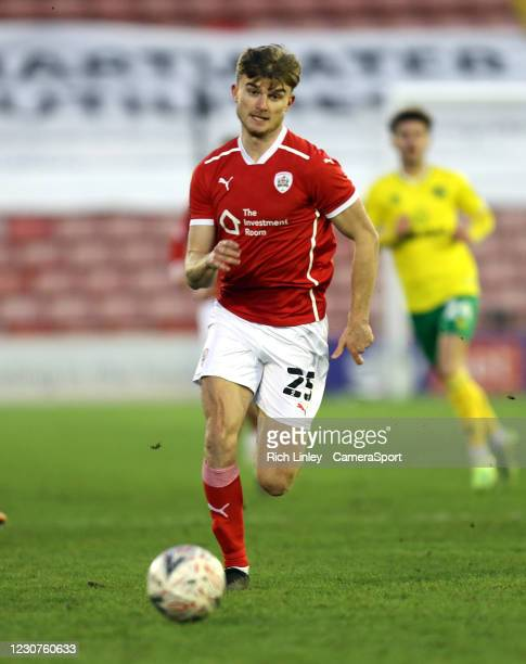 Barnsley's George Miller during the The Emirates FA Cup Fourth Round match between Barnsley and Norwich City at Oakwell Stadium on January 23, 2021...