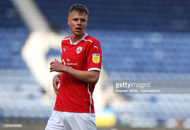 Barnsley's Mads Juel Andersen during the Sky Bet Championship match between Preston North End and Barnsley at Deepdale on May 1, 2021 in Preston,...