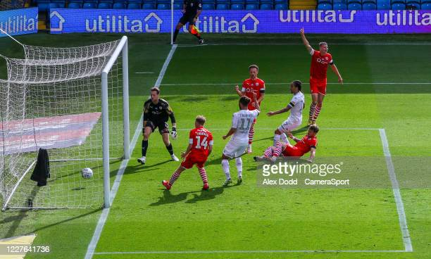 Barnsley's Michael Sollbauer scores an own goal during the Sky Bet Championship match between Leeds United and Barnsley at Elland Road on July 16,...
