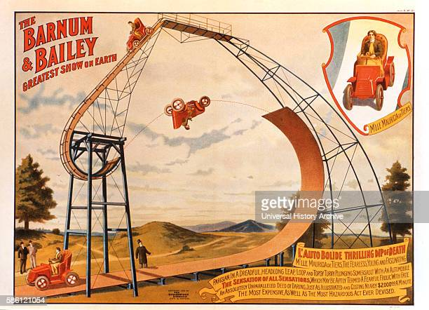 Barnum and Bailey Greatest Show on Earth L'Auto Bolide Thrilling Dip of Death Circus Poster circa 1905
