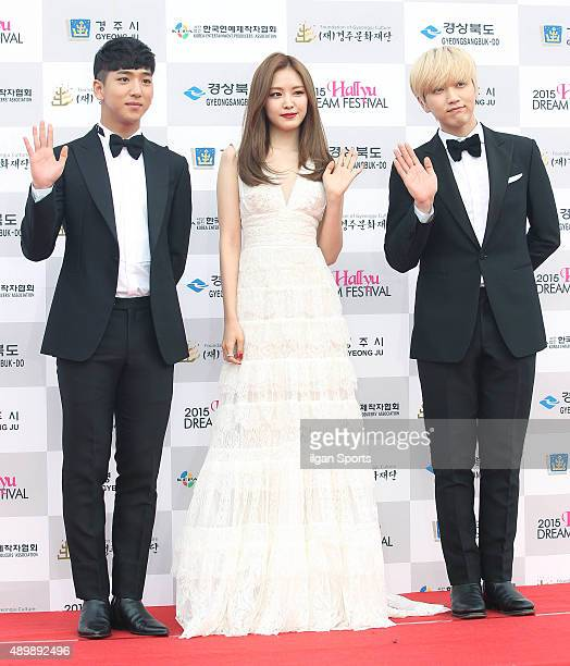 Baro of B1A4 Son NaEun of A pink and Sandeul of B1A4 pose for photographs during the 2015 Hallyu Dream Festival at Gyeongju Civic Stadium on...