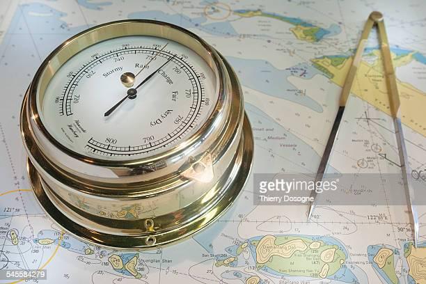 Barometer, compass, map