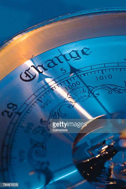 Barometer needle pointing to change