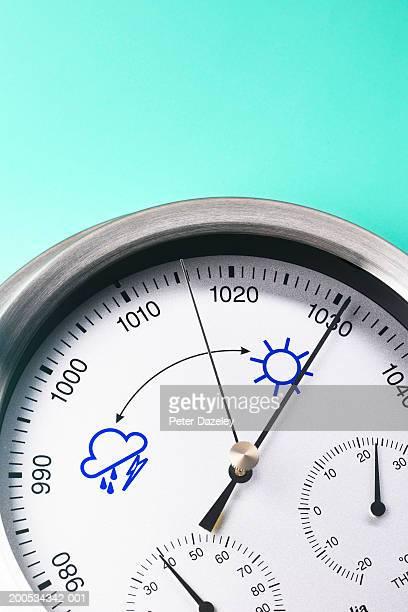 Barometer showing high pressure, close-up