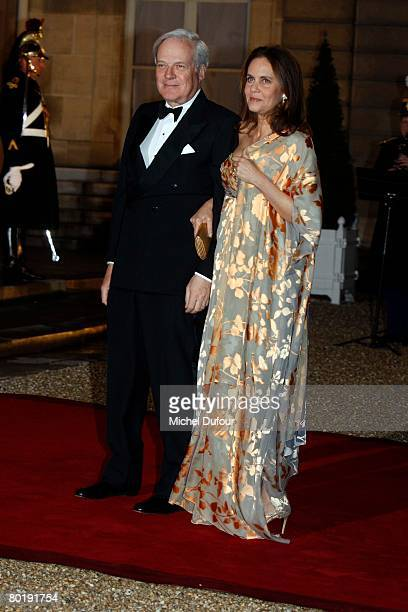 Baron and Baroness David and Olympia de Rothschild arrive to a state dinner hosted by President Nicolas Sarkozy and his wife Carla in honour of...