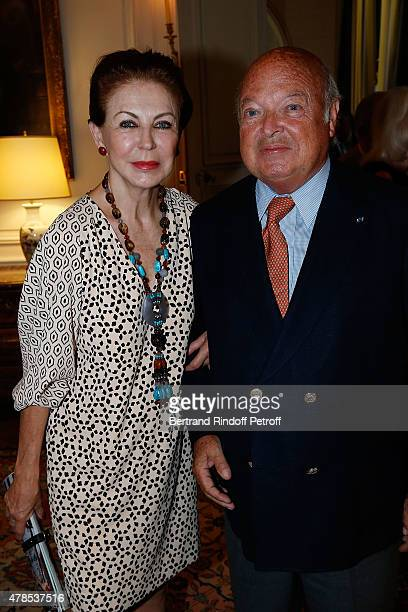 Baron and Baroness Emmanuel Reille attend the cocktail party for the departure of the ambassador of Belgium in France on June 25 2015 in Paris France