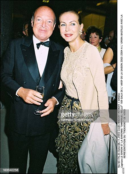 Baron and baroness Emmanuel Reille First Arop Gala of the season 20032004 at the Bastille opera with the performance Trouvere by Verdi
