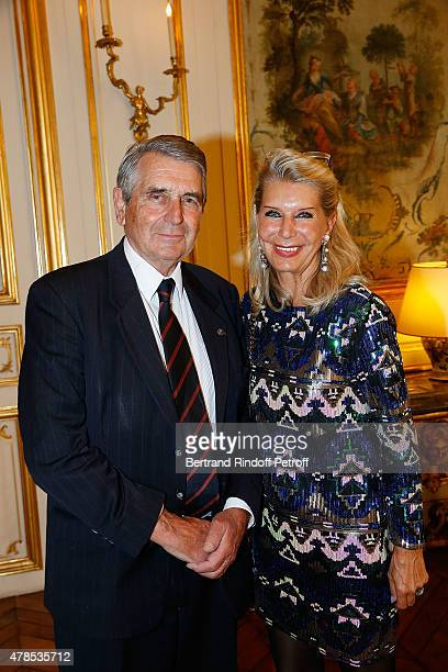 Baron and Baroness Gilbert Ameil attend the cocktail party for the departure of the ambassador of Belgium in France on June 25 2015 in Paris France