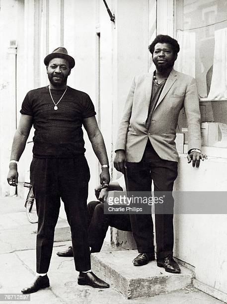 Baron Baker right and another man on Portobello Road West London 1966