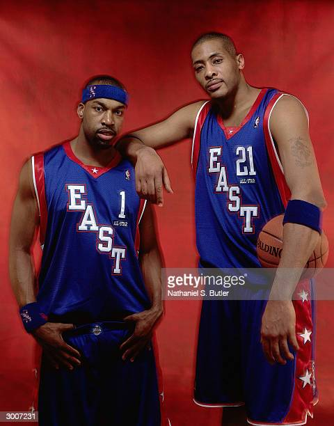 Baron Davis and Jamaal Magloire of the Eastern Conference AllStars pose for a portrait on February 15 2004 at Staples Center in Los Angeles...