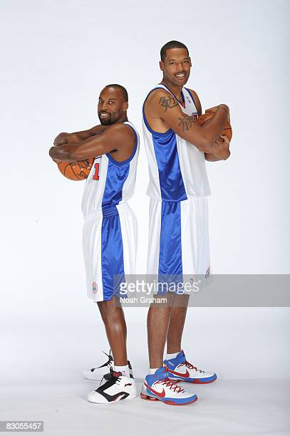 Baron Davis and Marcus Camby of the Los Angeles Clippers pose for a portrait during NBA Media Day on September 29 2008 at the Clippers Training...