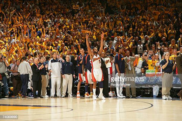 Baron Davis and the Golden State Warriors celebrate the victory against the Dallas Mavericks in Game Six of the 2007 NBA Playoffs on May 3, 2007 at...