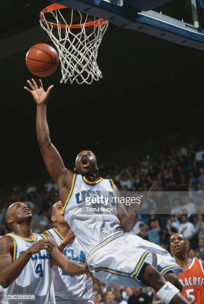 Baron Davis, Guard for the University of California, Los Angeles UCLA Bruins reaches for the basket during the NCAA Big East Conference college...