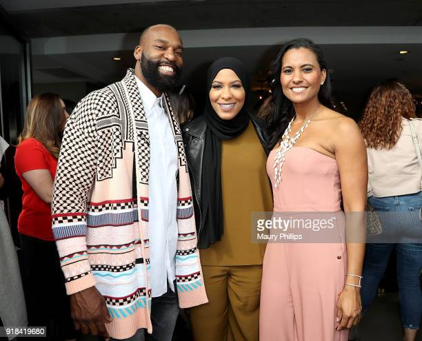 Baron Davis Ibtihaj Muhammad and Christine Simmons attend LOVE FEST women's networking event at The Jeremy Hotel on February 14 2018 in Los Angeles...