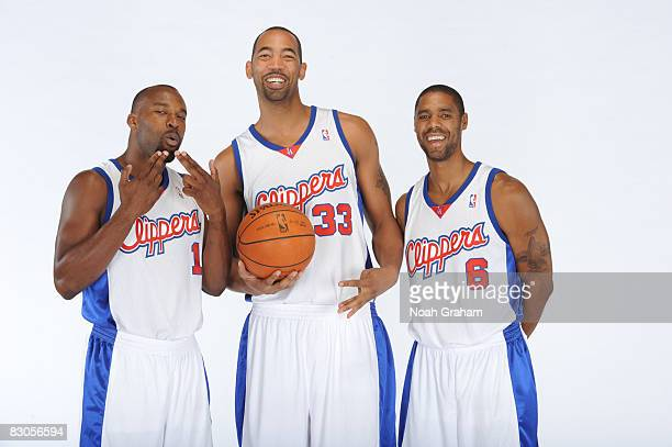 Baron Davis Jelani McCoy and Jason Hart of the Los Angeles Clippers pose for a portrait during NBA Media Day on September 29 2008 at the Clippers...