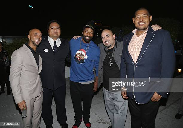 Baron Davis Noel Gugliemi and Omar Benson Miller attend the 9th Annual Manifest Your Destiny Toy Drive And Fundraiser on December 5 2016 in Hollywood...