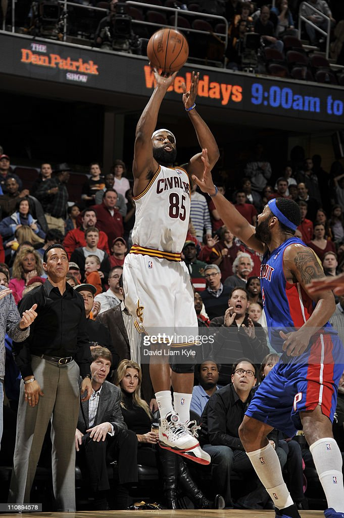 Baron Davis #85 of the Cleveland Cavaliers shoots against Chris Wilcox #9 of the Detroit Pistons during the game at The Quicken Loans Arena on March 25, 2011 in Cleveland, Ohio.
