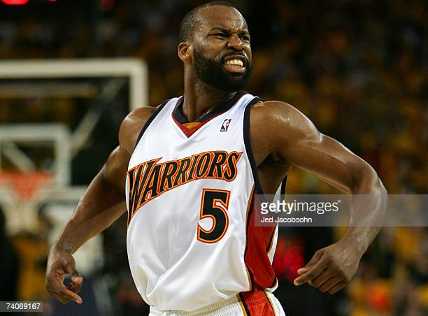 Baron Davis of the Golden State Warriors celebrates against the Dallas Mavericks in Game 6 of the Western Conference Quarterfinals during the 2007...