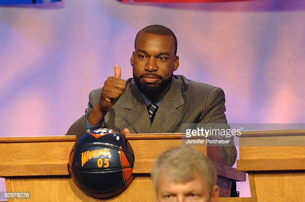 Baron Davis of the Golden State Warriors reacts to getting the lottery pick during the 2005 NBA Draft Lottery on May 24 2005 at the NBA Entertainment...