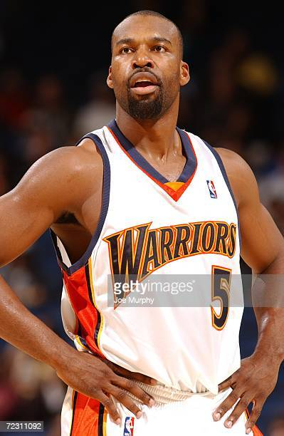 Baron Davis of the Golden State Warriors stands on the court during the preseason game against the Portland Trail Blazers on October 24 2006 at the...