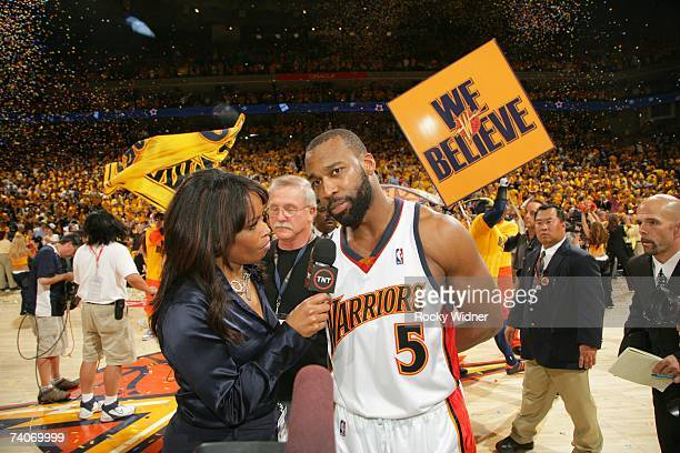 Baron Davis of the Golden State Warriors talks to TNT report Pam Oliver after the victory against the Dallas Mavericks in Game Six of the 2007 NBA...
