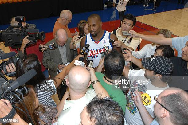 Baron Davis of the Los Angeles Clippers fields questions from the media during NBA Media Day on September 29 2008 at the Clippers Training Facility...