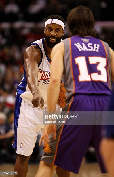 Baron Davis of the Los Angeles Clippers signals as Steve Nash of the Phoenix Suns defends on October 28 2009 at Staples Center in Los Angeles...