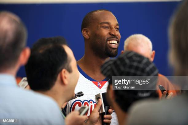Baron Davis of the Los Angeles Clippers smiles while fielding questions from the media during NBA Media Day on September 29 2008 at the Clippers...