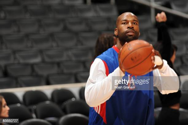 Baron Davis of the Los Angeles Clippers warms up prior to the game against the Utah Jazz at Staples Center on November 3 2008 in Los Angeles...
