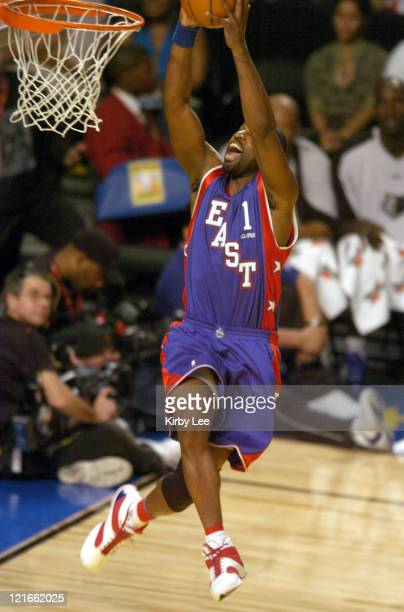 Baron Davis of the New Orleans Hornets dunks during the NBA AllStar Game at the Staples Center in Los Angeles California on Sunday February 15 2004...