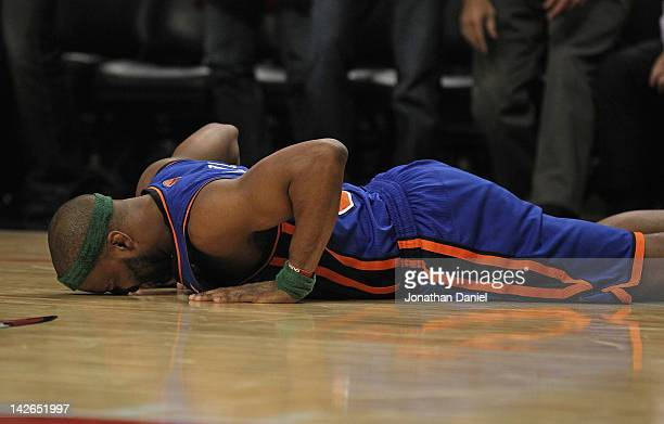Baron Davis of the New York Knicks reacts after losing the ball against the Chicago Bulls at the United Center on April 10 2012 in Chicago Illinois...