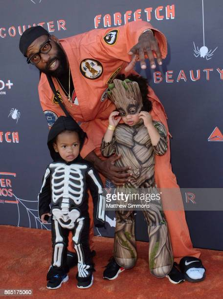 Baron Davis with Luke Davis and Kingman Davis at the GOOD Foundation's 2nd Annual Halloween Bash at Culver Studios on October 22 2017 in Culver City...
