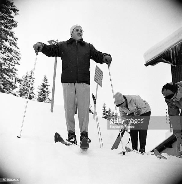Baron Edmond de Rothschild Skiing In Megève, France, on January 20, 1963.