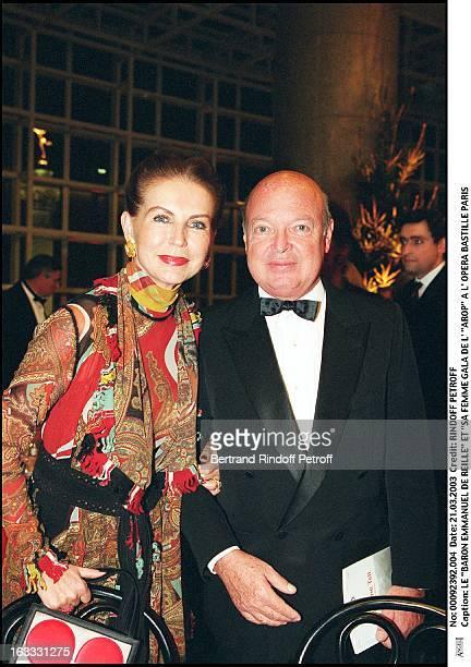 Baron Emmanuel De Reille and His wife Arop gala at the Bastille opera in Paris