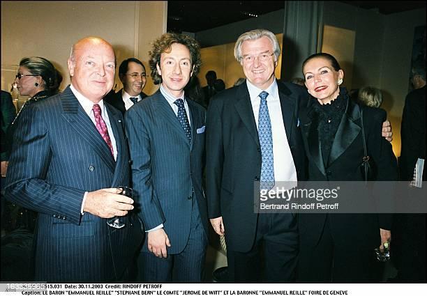 Baron Emmanuel Reille Stephane Bern count Jerome De Witt and baroness Emmanuel Reille exhibition of Geneva