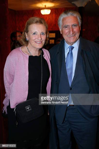 Baron ErnestAntoine Seilliere and his wife Antoinette Barbe attend the 'Novecento' Theater Play in support of APREC at Theatre Montparnasse on...