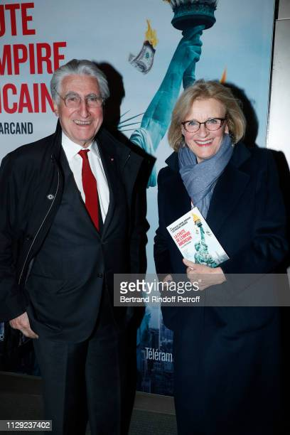 Baron ErnestAntoine Seilliere and his wife Antoinette Barbey attend 'La Chute de l'Empire Americain' Photocall at Cinema UGC Normandie on February 12...