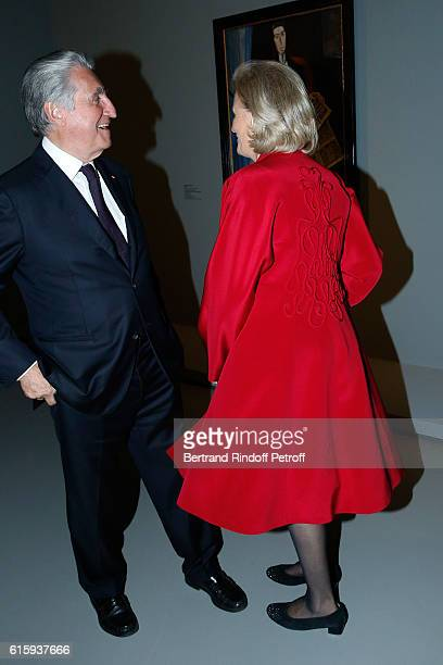 Baron ErnestAntoine Seilliere and his wife Antoinette Barbey attend the 'Icones de l'Art Moderne La Collection Chtchoukine' Cocktail at Fondation...