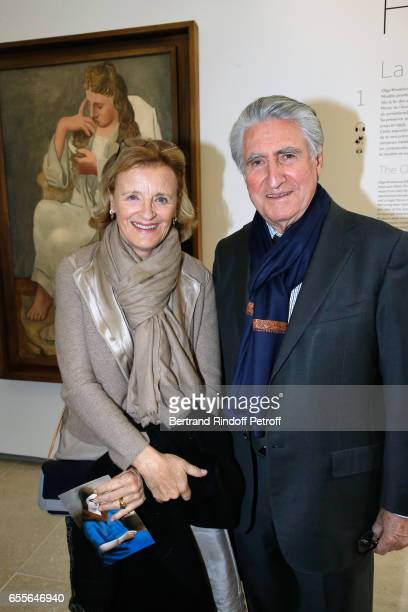 Baron ErnestAntoine Seilliere and his wife Antoinette Barbey attend the 'Olga Picasso' Exhibition pivate view at Musee national PicassoParis on March...