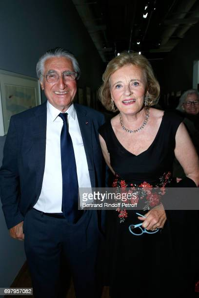 Baron ErnestAntoine Seilliere and his wife Antoinette Barbey attend the David Hockney 'Retrospective' Exhibition at Centre Pompidou on June 19 2017...