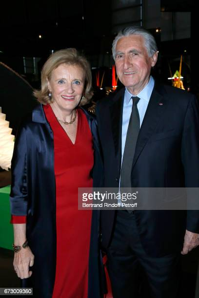 Baron ErnestAntoine Seilliere and his wife Antoinette Barbey pose in front the works of JeanPaul Goude during the 'Societe des Amis du Musee d'Art...