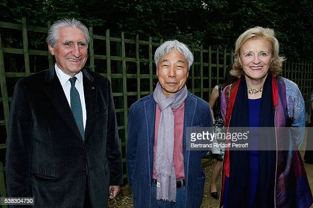 Baron ErnestAntoine Seilliere Lee Ufan and Antoinette Barbey attend the inauguration of Olafur Eliasson Exhibition at Chateau de Versailles on June 5...