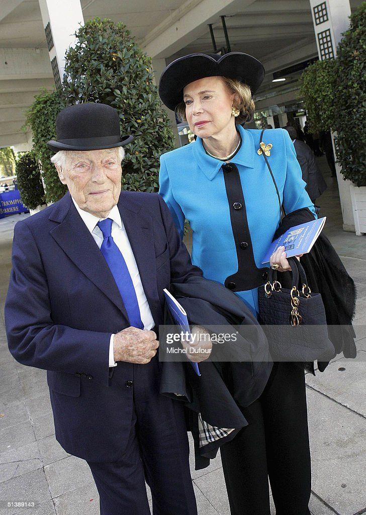 Baron Guy de Rothschild and a friend attend the Prix de l'Arc de Triomphe at Lonchamp on October 3, 2004 in Paris, France.