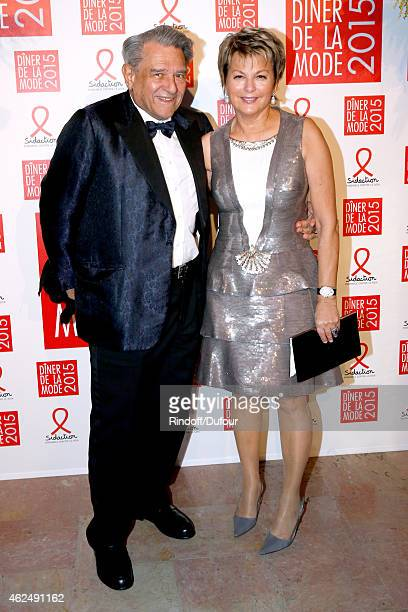 Baron Guy Ullens de Schooten and Baroness Myram attend the Sidaction Gala Dinner 2015 at Pavillon d'Armenonville on January 29 2015 in Paris France