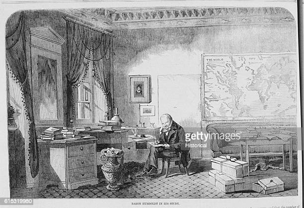 Baron Humboldt a German naturalist and traveller at his room at Berlin where the 87 year old scientist spends his winters