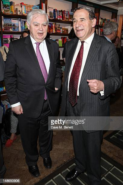 Baron Lamont of Lerwick and Leon Brittan attend Stanley Johnsons' book launch party at Daunt Books in Marylebone High St on July 18 2012 in London...