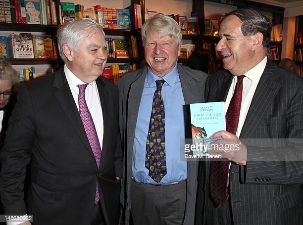 Baron Lamont of Lerwick Stanley Johnson Leon Brittan attend Stanley Johnsons' book launch party at Daunt Books in Marylebone High St on July 18 2012...